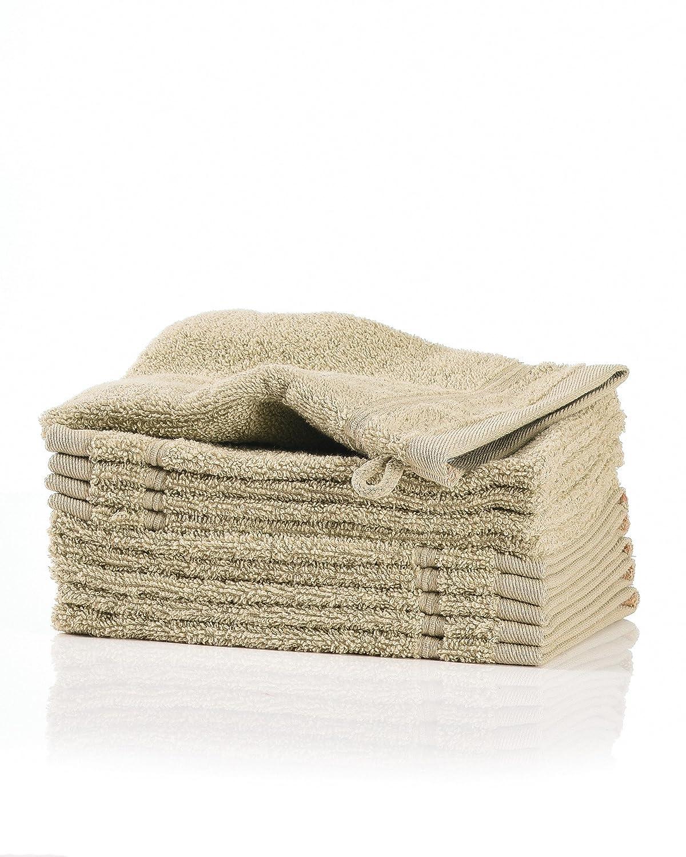 myHomery Waschlappen - Waschhandschuh aus Baumwolle - 10er-Set Wasch Lappen - Waschtuch für Gesicht und Körper - Lappen Zum Waschen für Badezimmer und Dusche - Ideal Zum Mitnehmen Beige | 10er-Set