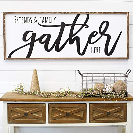 Amazon Com Celycasy For Her Gather Sign Living Room Wall Decor Modern Farmhouse Dining Room Sign Large Farmhouse Sign Home Kitchen