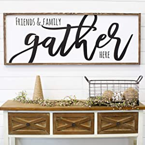 CELYCASY for Her Gather Sign Living Room Wall Decor Modern Farmhouse Dining Room Sign Large Farmhouse Sign