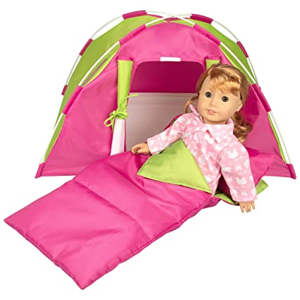 official photos b3531 7d827 Dress Along Dolly Doll Tent w Sleeping Bag for American Girl and Other 18  inches Dolls - 23 x 15 x 14 in