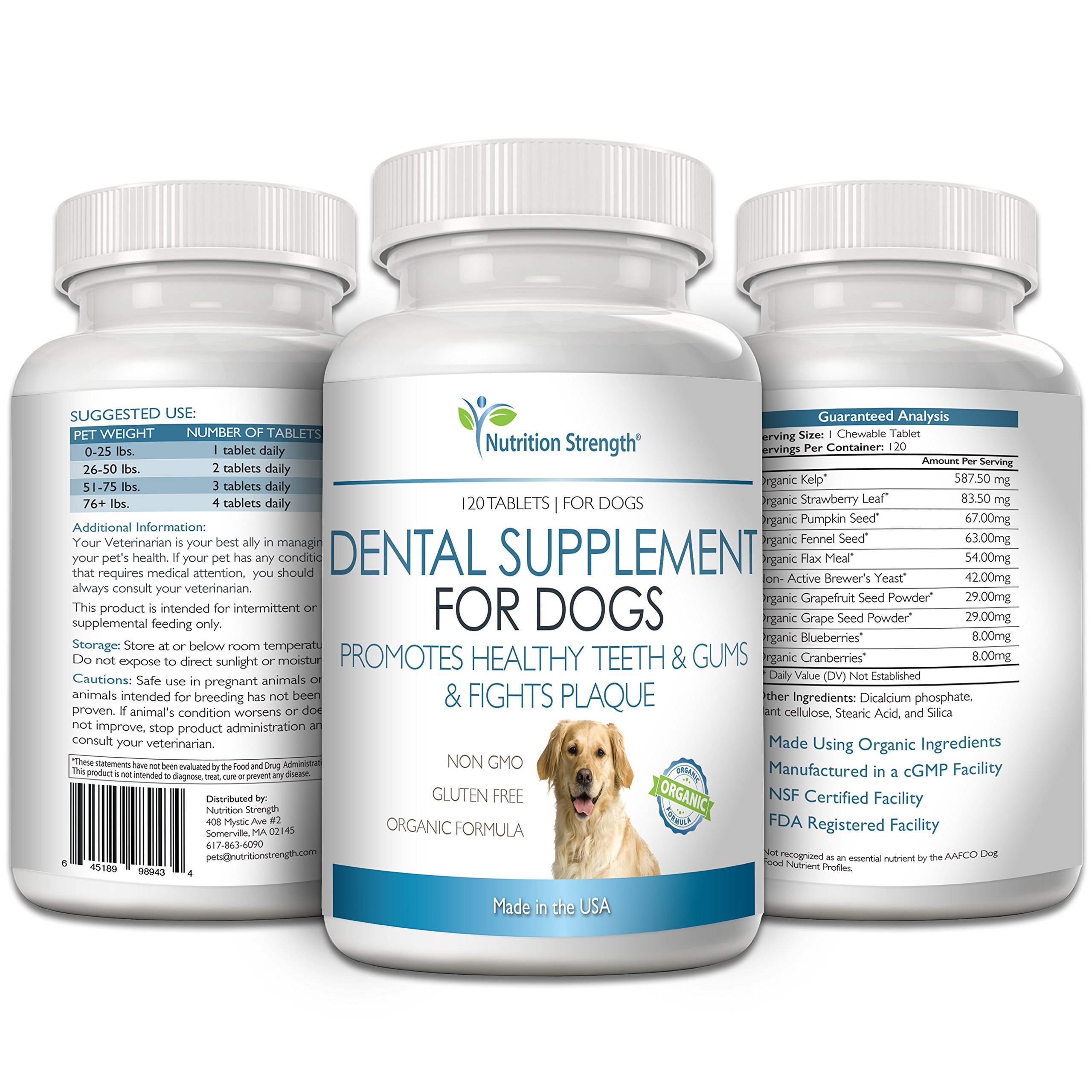 Nutrition Strength Dental Care for Dogs, Daily Supplement for Healthy Dog Gums and Teeth with All-Organic Ingredients, 120 Chewable Tablets by Nutrition Strength (Image #4)