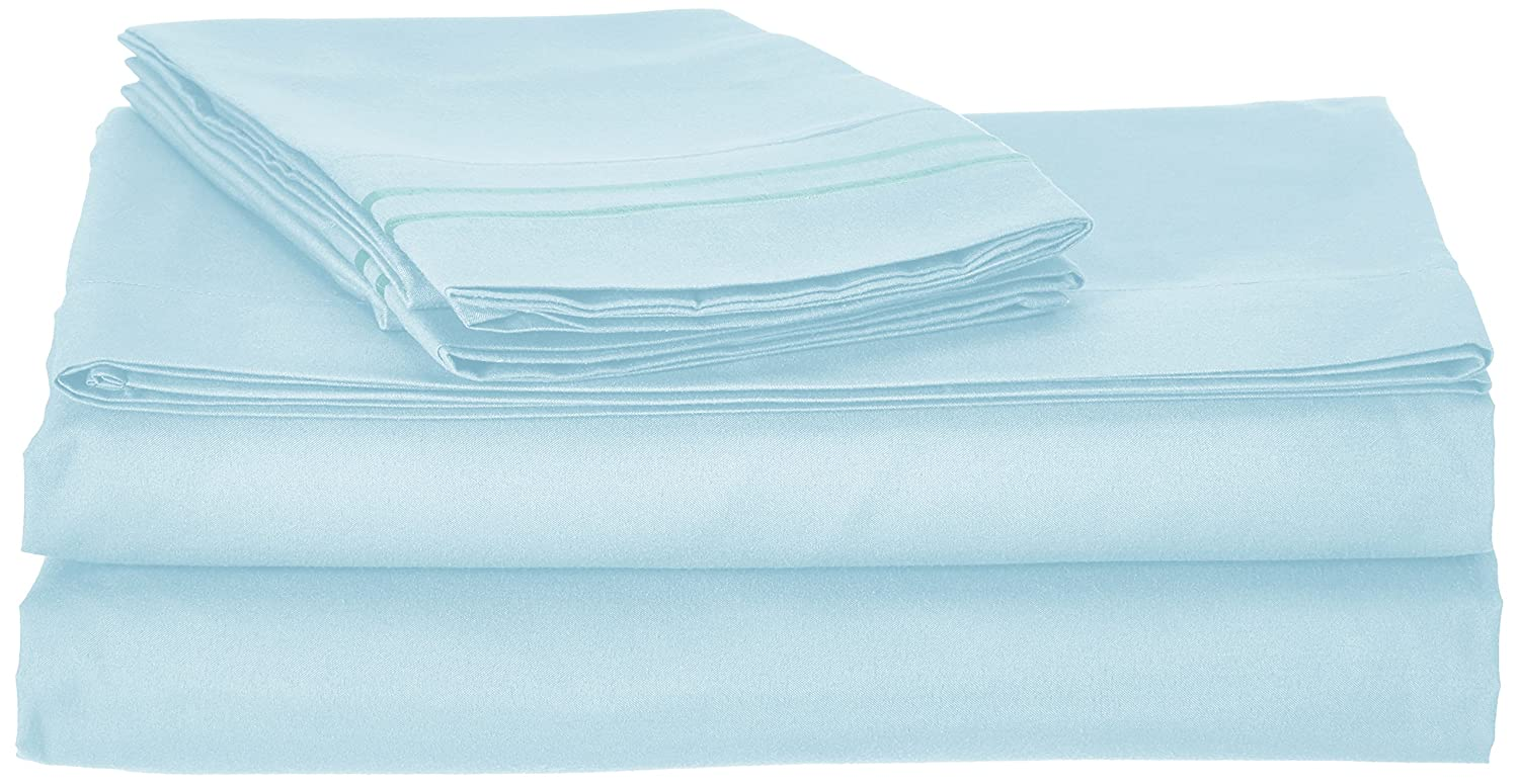 4pc Bed Sheet Set - Queen Size, Light Blue Aqua