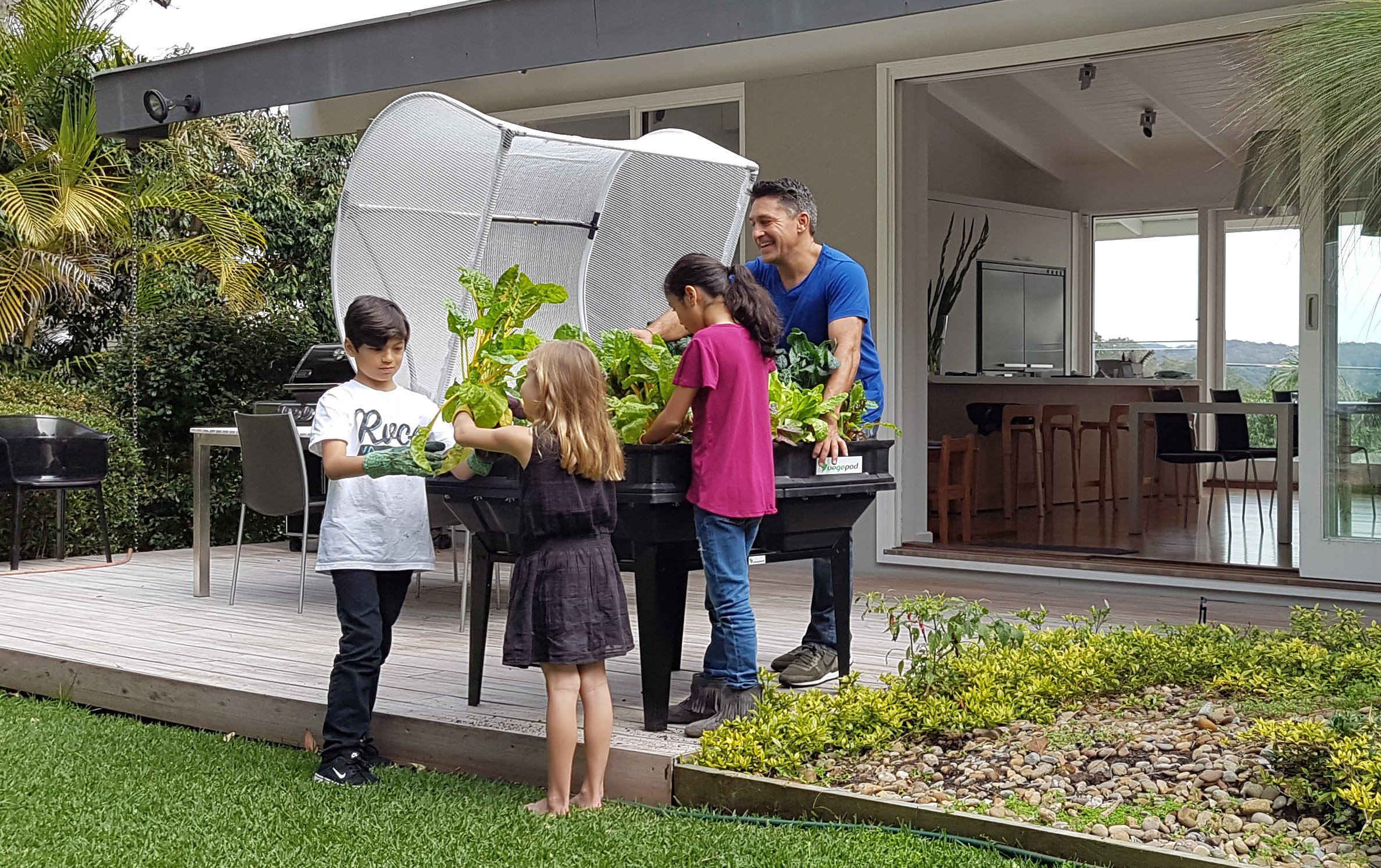Medium Premium Raised Container Garden, Expansive 10.8 Square Foot Container with Protective Cover, Self Watering, Designed by Vegepod in Australia