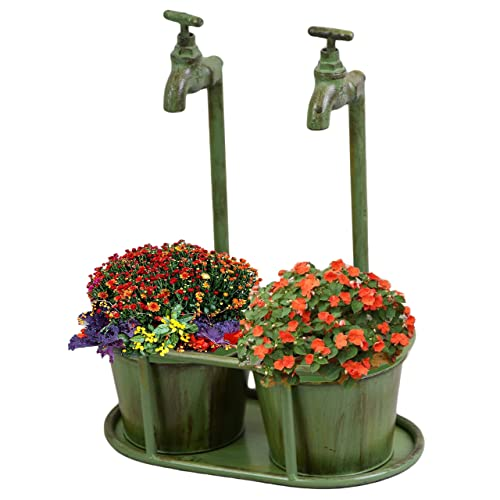PMS VERDIGRIS DOUBLE TAP PLANTER WITH HANG TAG