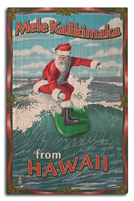 merry christmas from hawaii santa surfing 10x15 wood wall sign wall decor ready - Merry Christmas In Hawaii