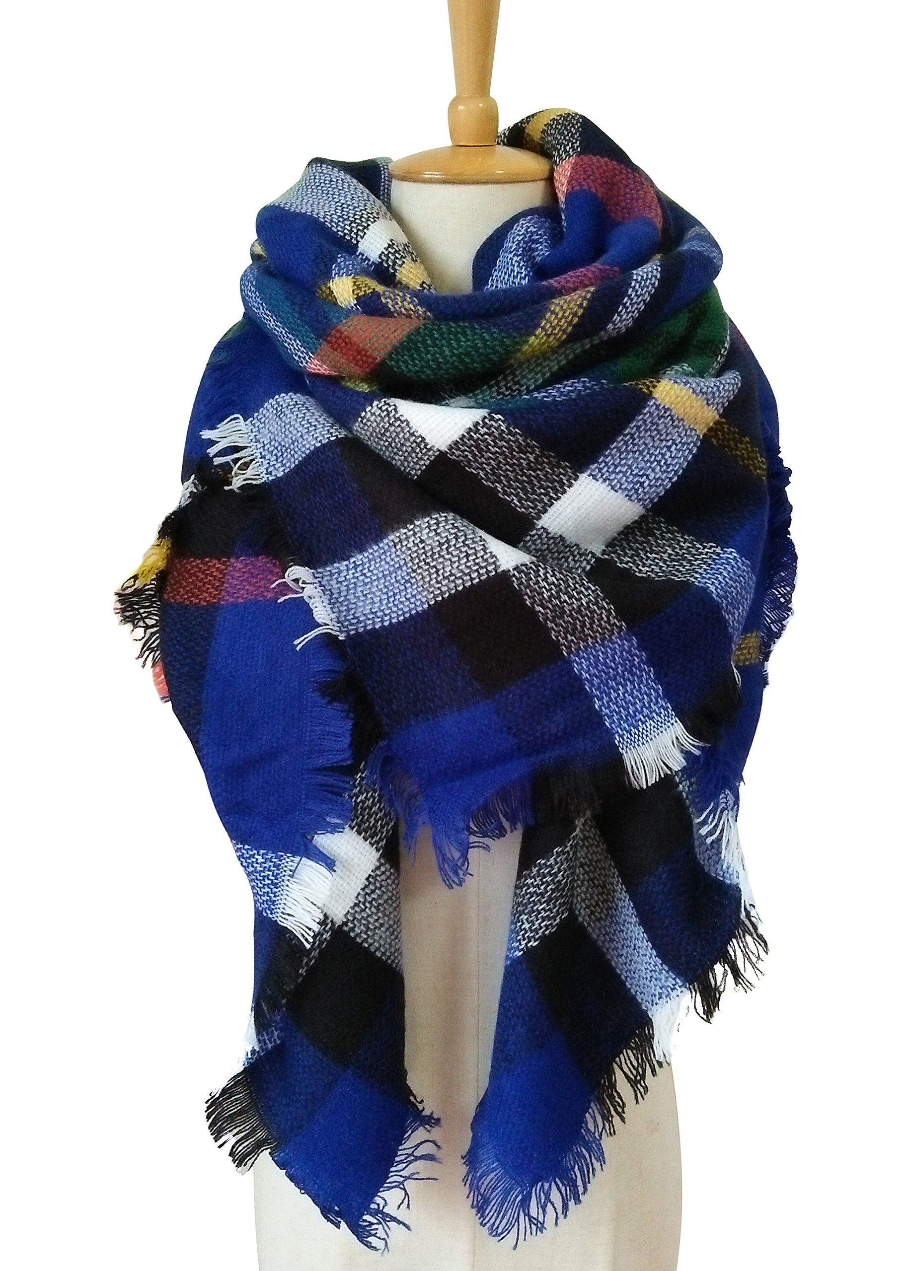 MOTINE Tartan Blanket Scarf Stylish Winter Warm Pashmina Wrap Shawl for Women (Blue)