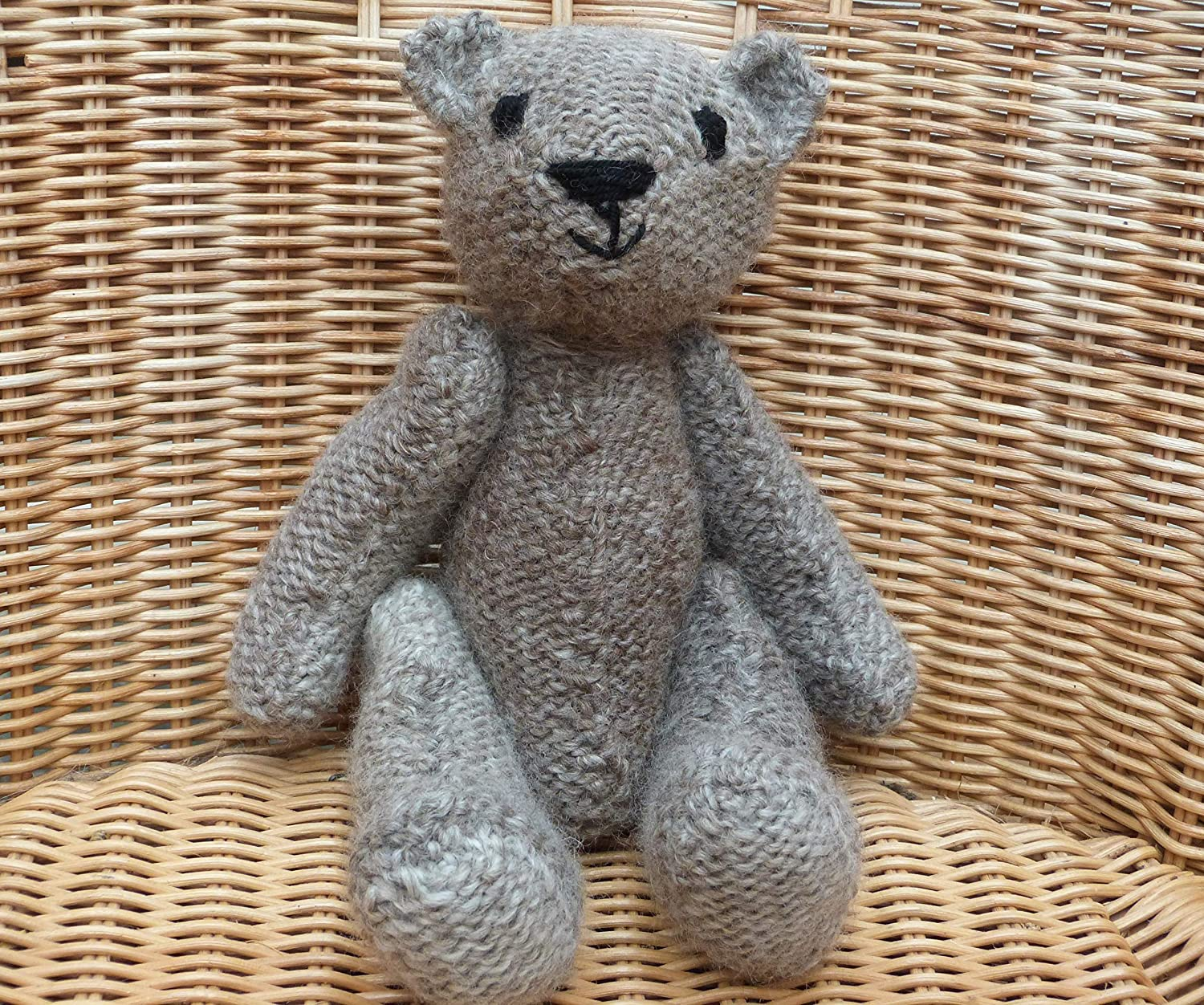 Vintage-Style Bear Great British HandmadeTeddy Bear Traditional Bear Grey Teddy Bear 8 Teddy Bear Hand Knitted Bear with Wool Rompers