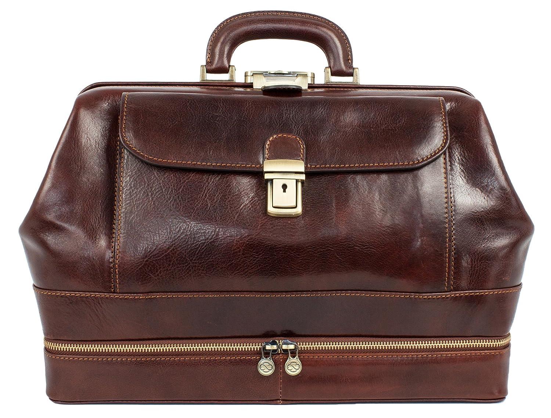 Time Resistance Full Grain Leather Doctor Bag Medical Bag Satchel Medium Brown 1172101