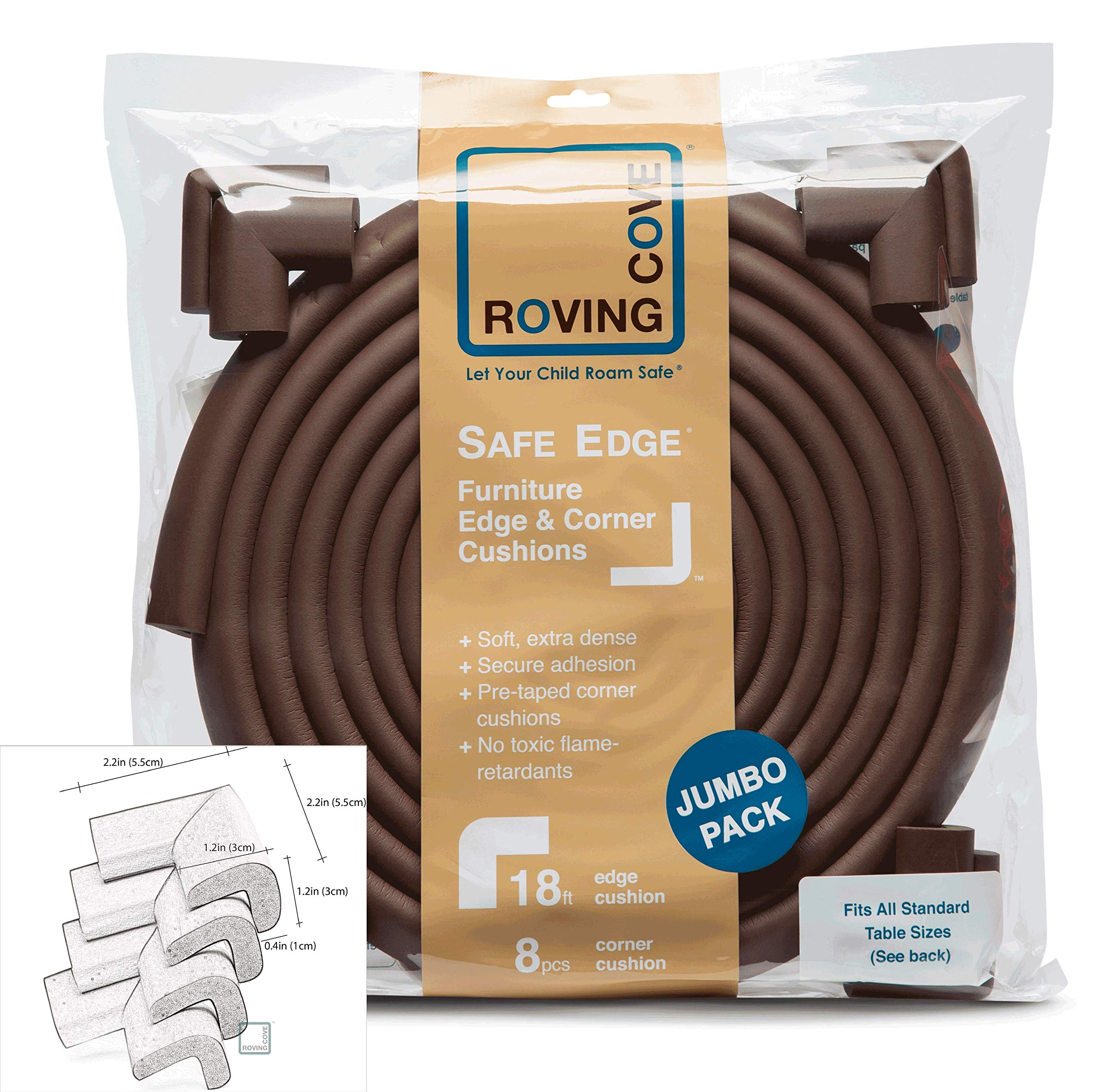 Roving Cove | Baby Proofing Edge & Corner Guards | Safe Edge & Corner Cushion | Child Safety Furniture Bumper | Table Protectors | Pre-Taped Corners | 20.4 ft [18 ft Edge + 8 Corners] | Coffee Brown by Roving Cove