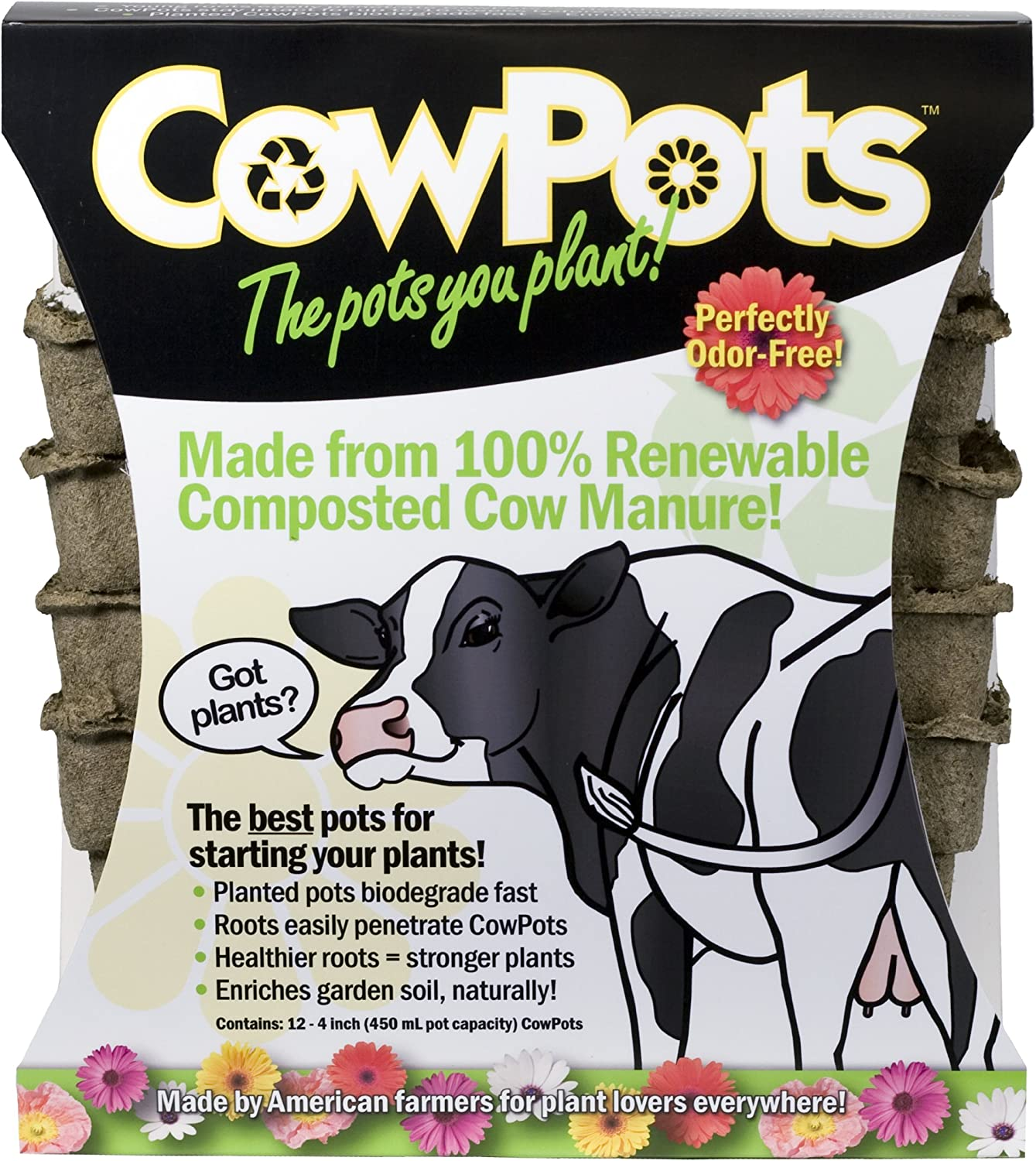 CowPots CP4-12 4-Inch Square, 12 Pack), Brown