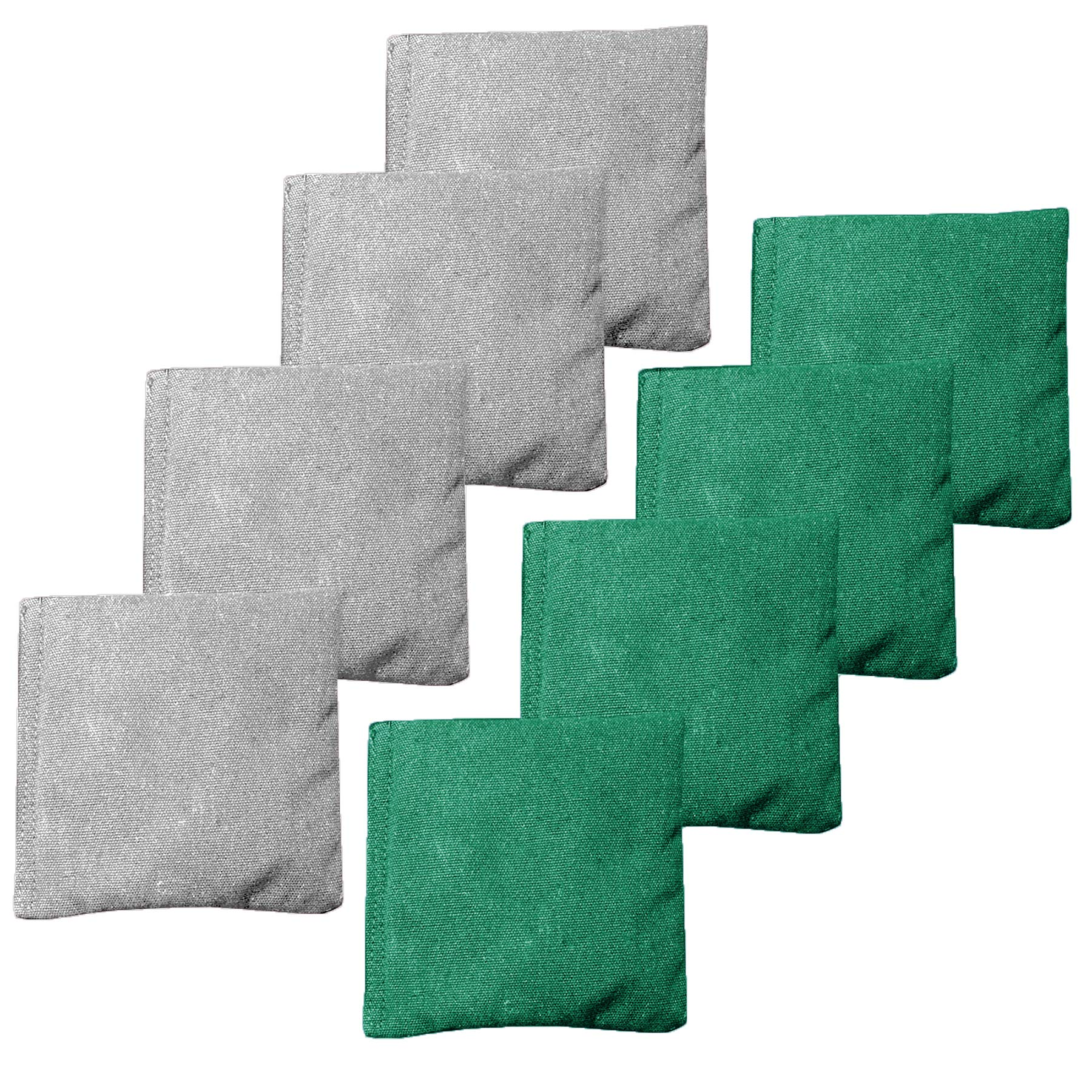 Weather Resistant Cornhole Bean Bags Set of 8 - Regulation Size & Weight - Green & Gray by Play Platoon