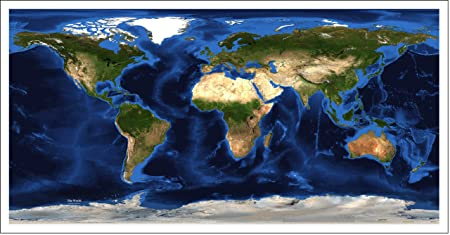 World Satellite Map Geographic Projection Topography And