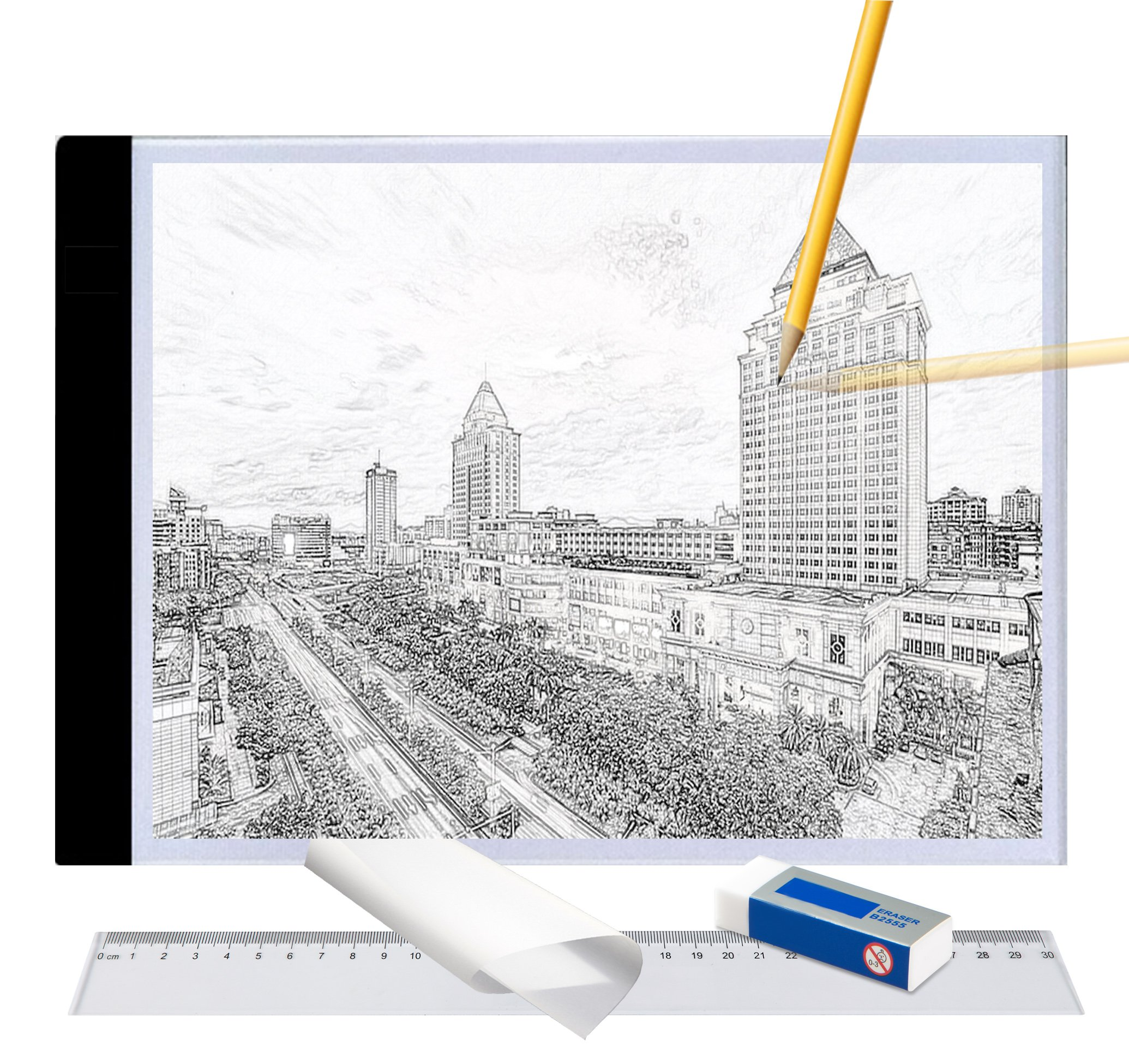 A4 Ultra-Thin Portable LED Light Box Tracer USB Power LED Artcraft Tracing Light Pad Light Box w Tracing Paper Ruer Erase for 5D DIY Diamond Painting,Artists,Drawing,Sketching,Animation by Tikteck