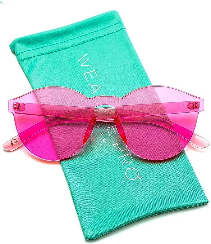 WearMe Pro - Colorful One Piece Transparent Round Super Retro Sunglasses