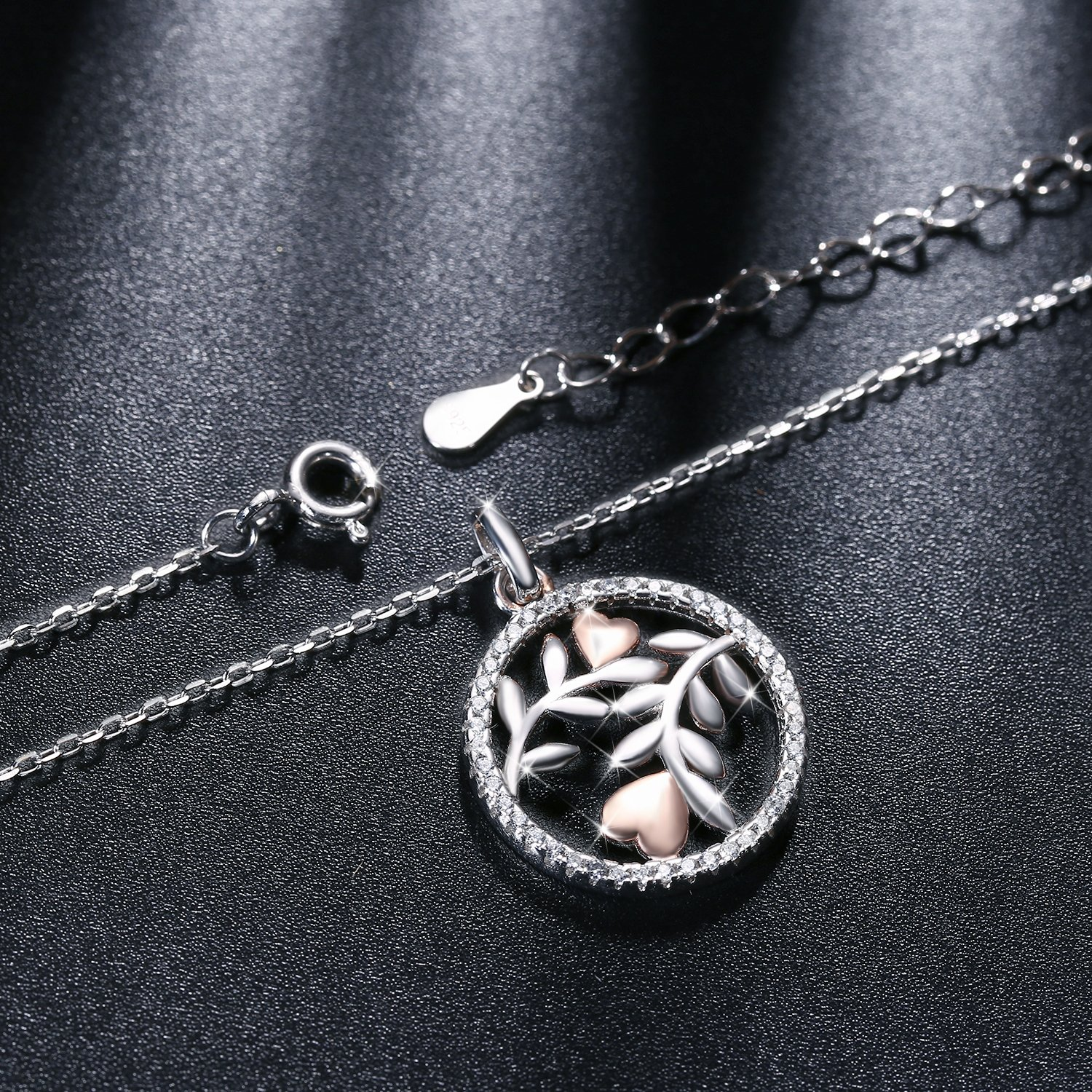 45+5cm Extender J.Ros/ée Tree of Life Pendant Necklaces Best Gift 925 Sterling Silver Nickel Free Anti-Allergic Jewellery