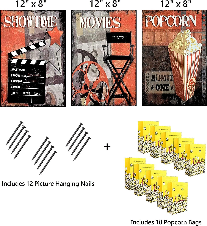 UNiQ Designs Popcorn Cinema Media Room Decor Tin Signs Theater Sign Movie Room Decor Accessories Film Decor Home Movie Theater Decor Movie Reel Wall Decor x3 PCK Vintage Movie Decor 12x8