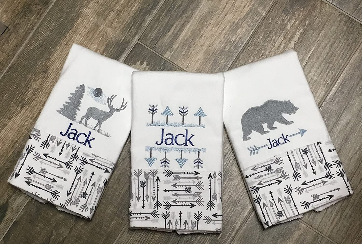 3 Elk and Bear Woodland Animals Blue and Gray Burp Cloths, Personalized Embroidered Burp Cloths, Baby Shower Gift, Boutique Burp Cloth