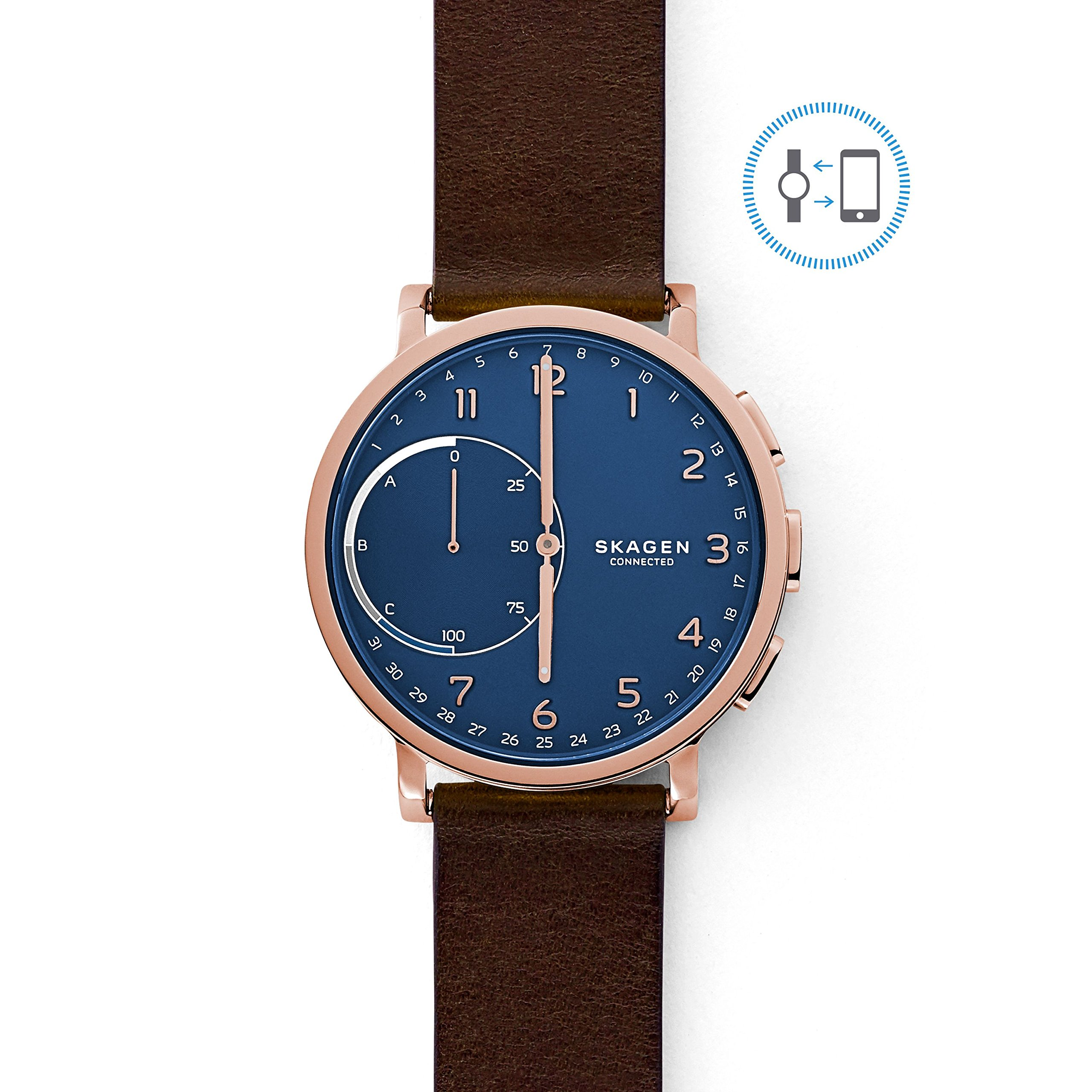 Skagen Connected Men's Hagen Stainless Steel and Leather Hybrid Smartwatch, Color: Rose Gold, Dark Brown (SKT1103)