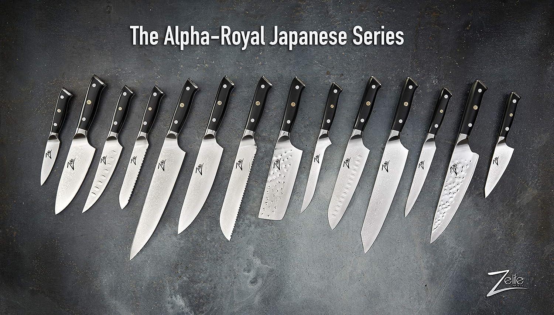 Coltello da Cucina con Affilatura a Rasoio Incredibile Tenuta del Filo Serie Alpha-Royal Zelite Infinity Coltello Pane da 20 cm Acciaio Damasco Giapponese AUS-10 a 67 strati