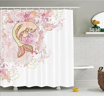 Beautiful Japanese Decor Shower Curtain Set By Ambesonne, Asian Koi Fish On Classic  Reflexive Splashed Setting