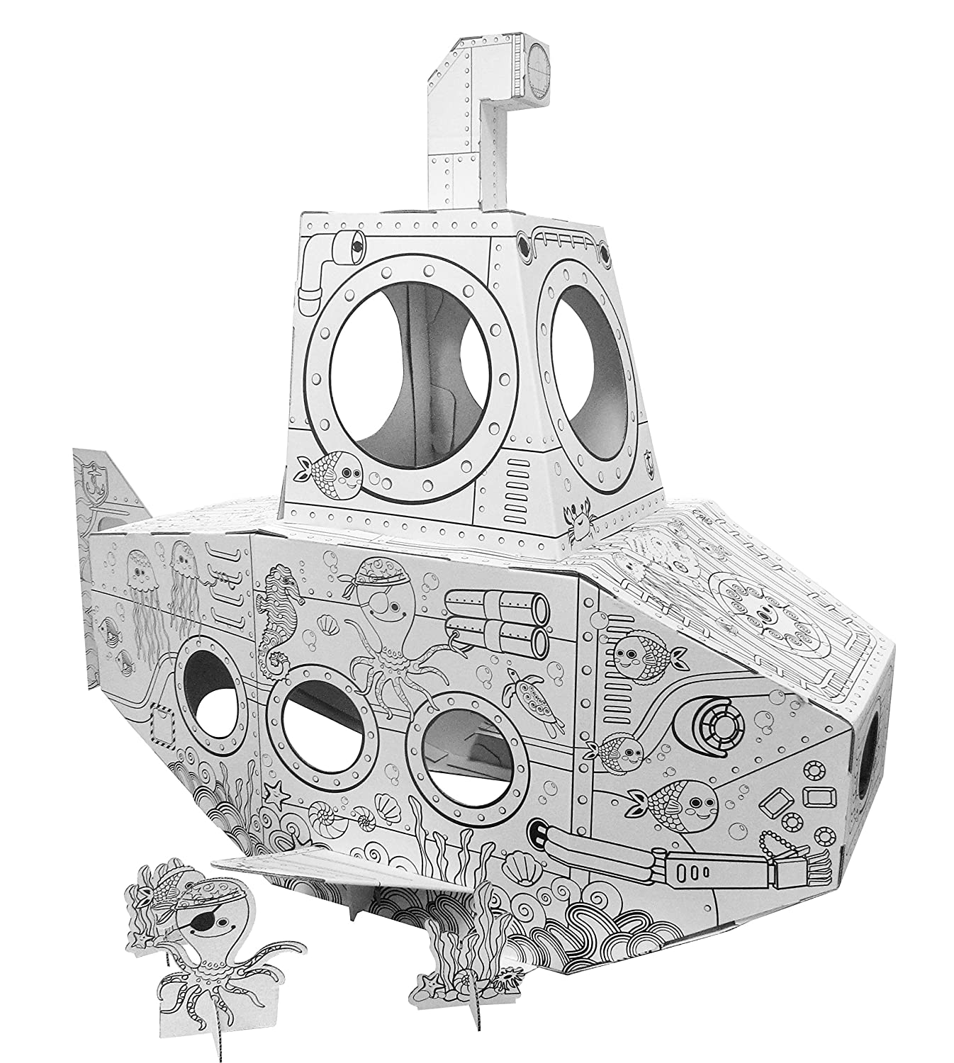 amazon com cardboard submarine building and coloring cardboard