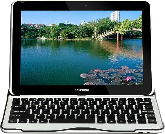 Sharon SI54174 - Carcasa de aluminio para Samsung Galaxy Tab 3 10.1 GT-P5200 GT-P5210 GT-P5220 con teclado Bluetooth incluido QWERTY