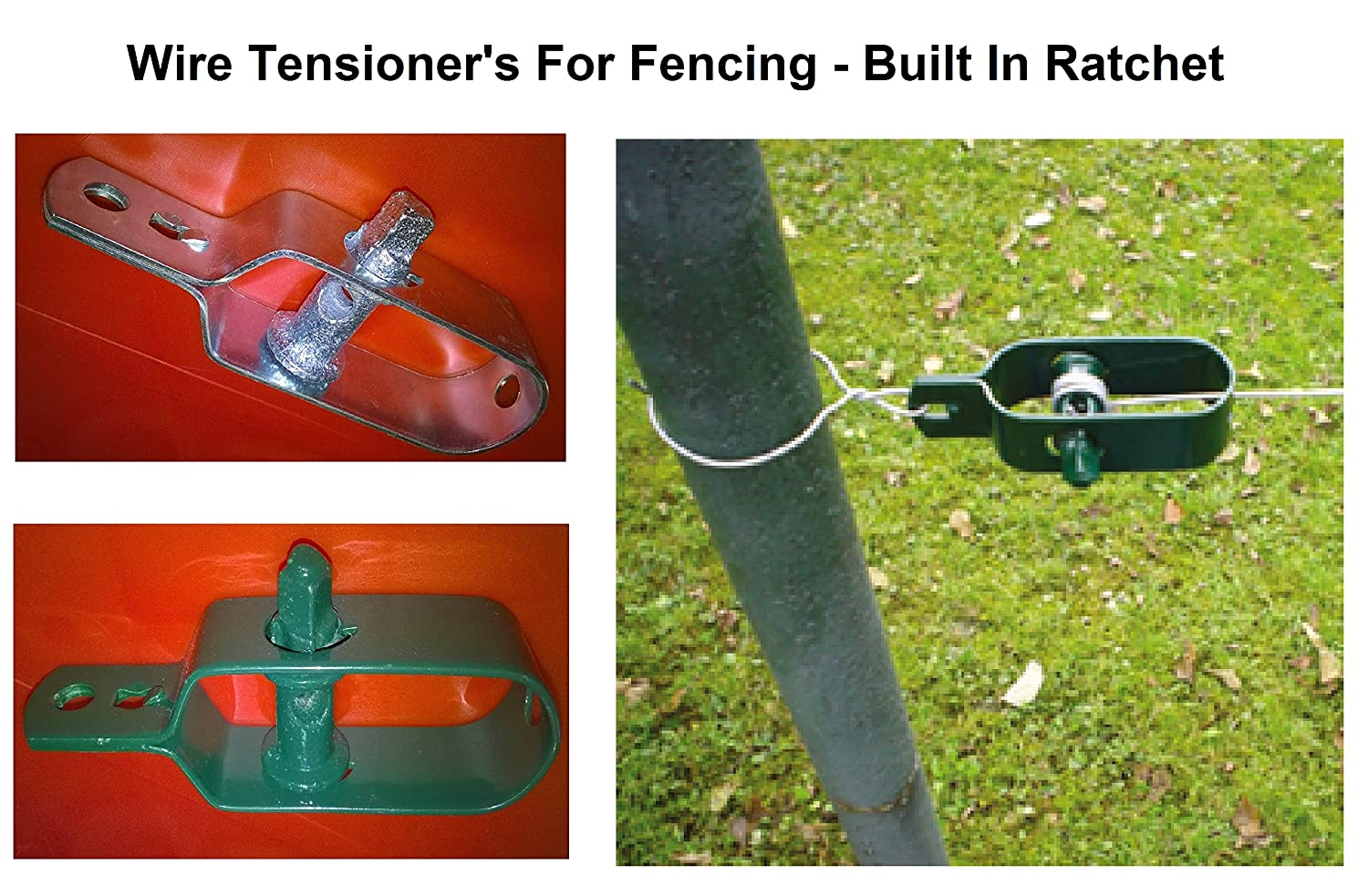 Wire Fence Tensioner - (4 Pack - Natural) Ratchet Type - Galvanised ...