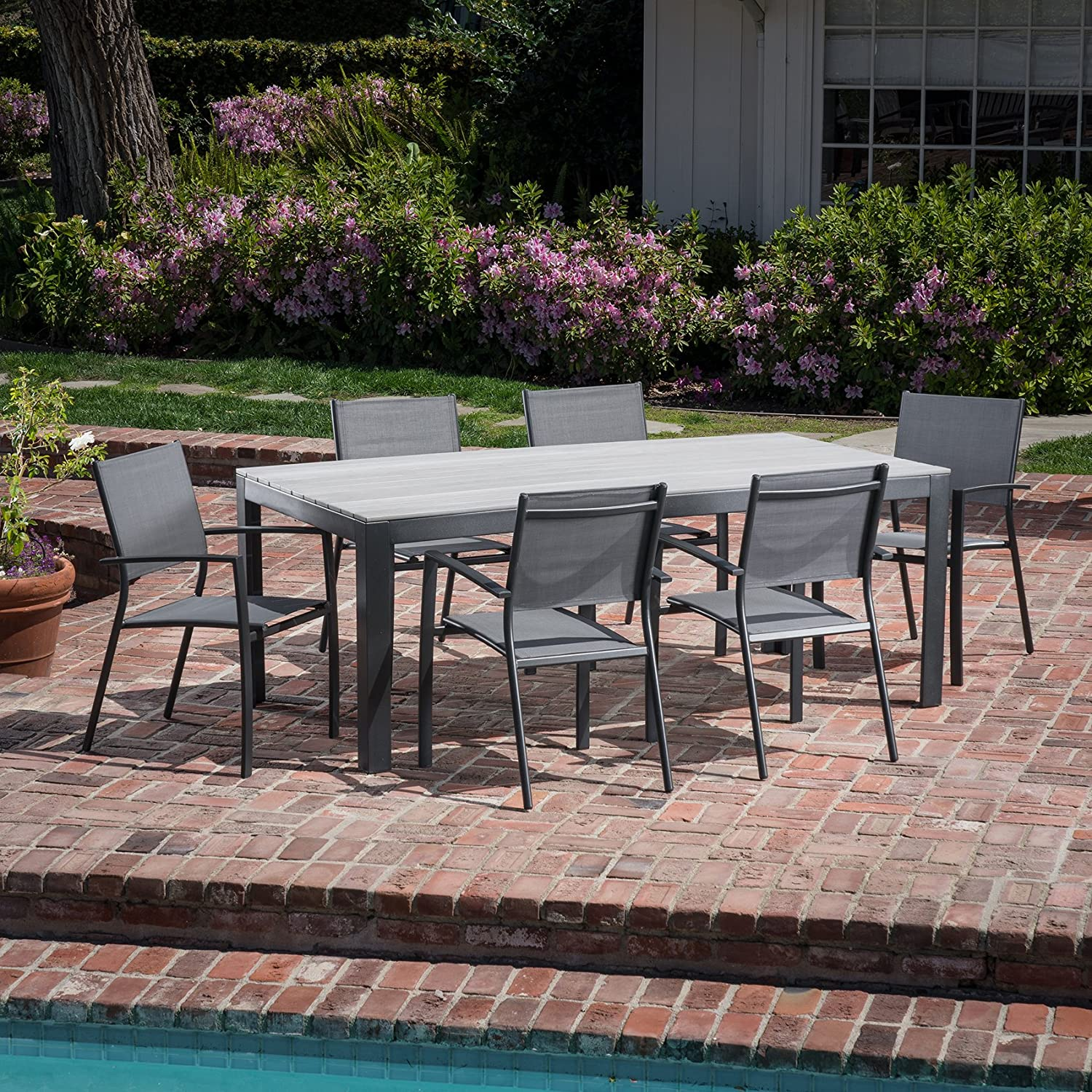 Cambridge YUMADN7PC-GRY Yuma 7-Piece 6 Sling Arm Chairs and a Faux Wood Table Outdoor Patio Dining Set, Gray