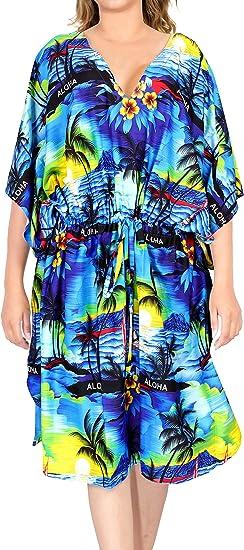 TALLA XL-XXL. LA LEELA Mujer Kaftan Túnico Impreso Kimono Estilo Más tamaño Vestido para Loungewear Vacaciones Ropa de Dormir & Cada día Cubrir para Arriba Tops Camisolas Playa AK