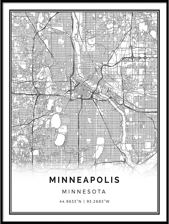 Squareious Minneapolis map Poster Print | Modern Black and White Wall Art | Scandinavian Home Decor | Minnesota City Prints Artwork | Fine Art Posters 18x24