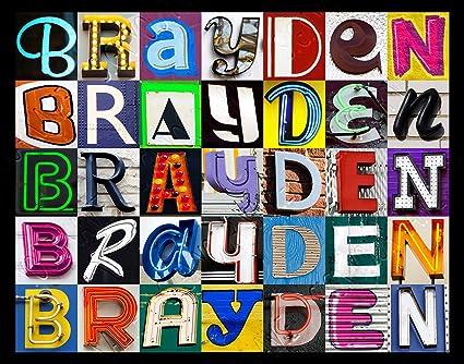 Amazon.com: Brayden nombre personalizado Póster utilizando ...