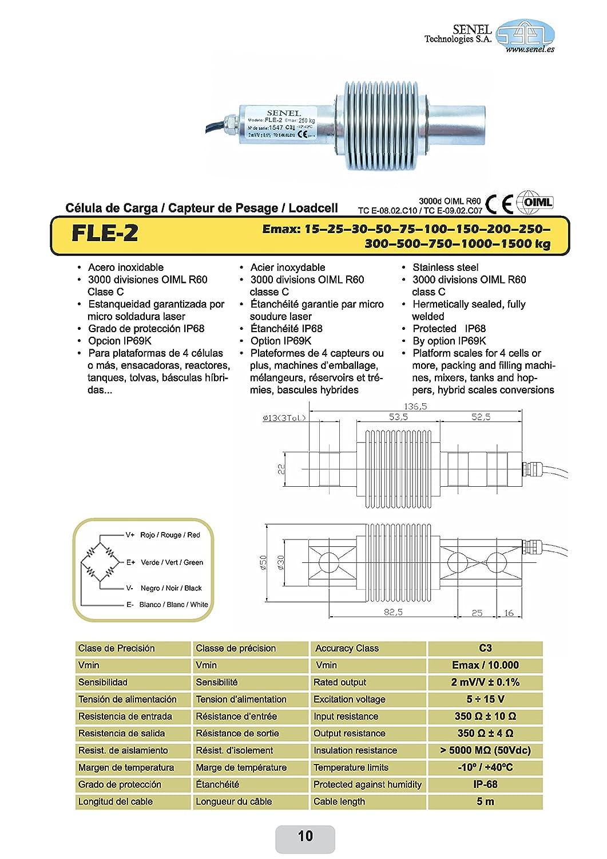 Célula de carga fle2 150 acero inoxidable 0 A 150 kg IP68 Micro láser totalmente soldada: Amazon.es: Industria, empresas y ciencia