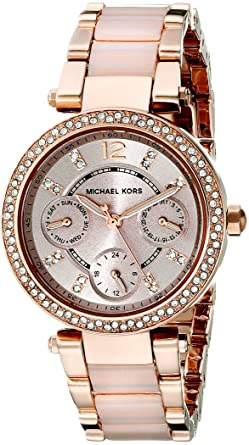 99f6bd37ed07 Amazon.com  Michael Kors Women s Mini Parker Two-Tone Watch MK6110 ...