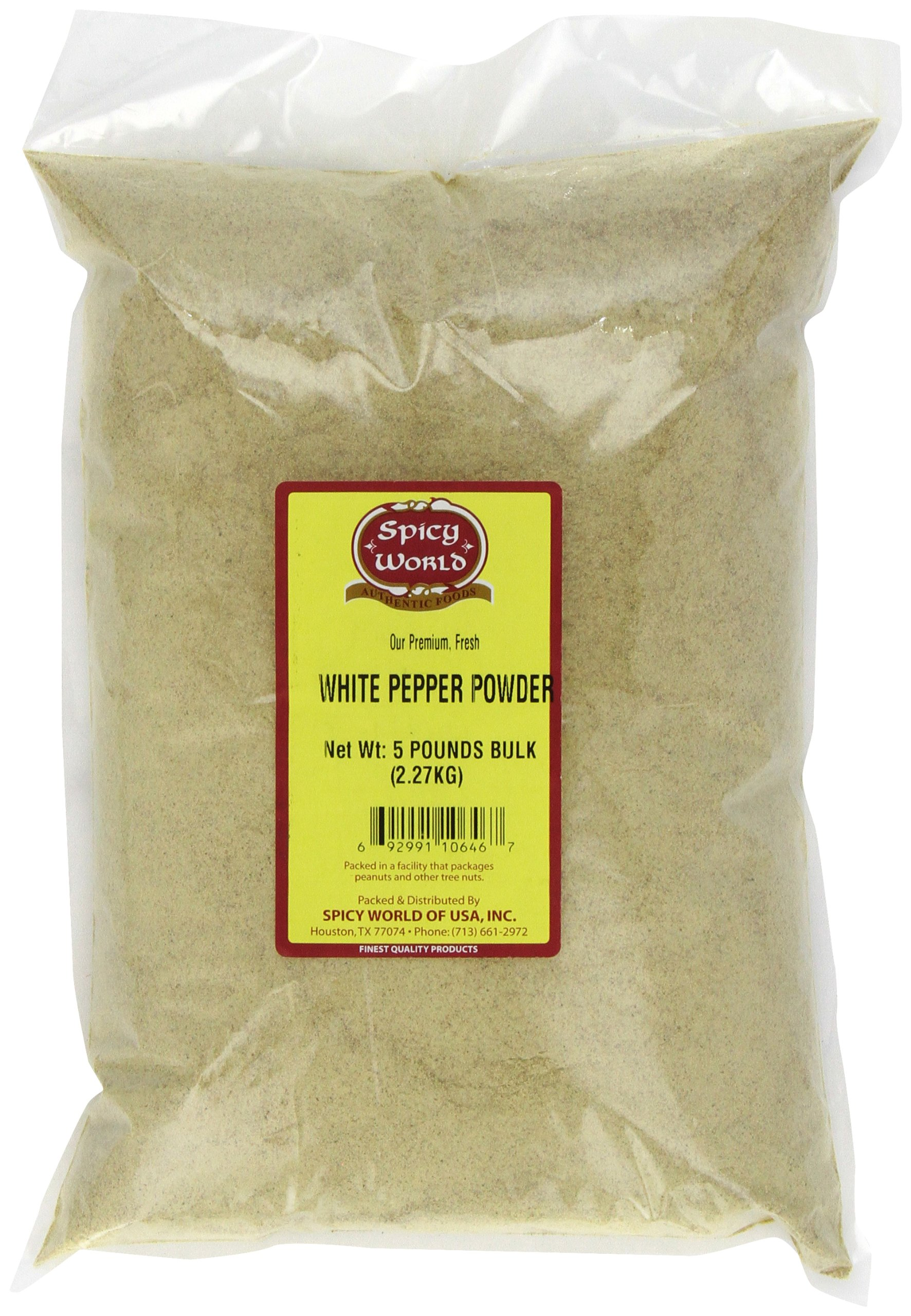 Spicy World White Pepper Powder Bulk, 5-Pounds