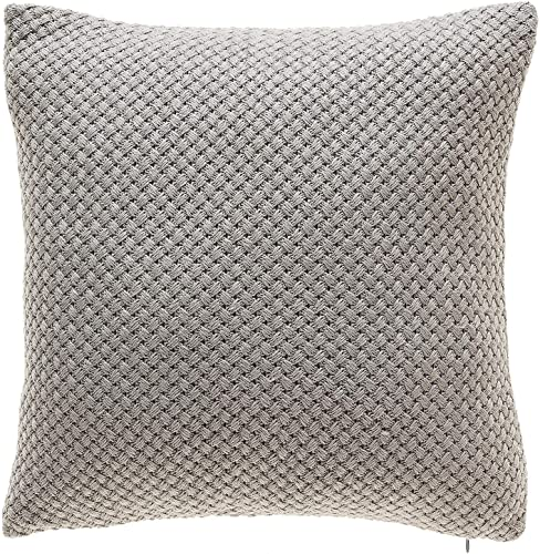 TINA S HOME Grey Knit Throw Pillows with Down Alternative Filling Comfy Solid Color Decorative Throw Pillows for Couch Sofa Bed Living Room Decor 18×18, Gray