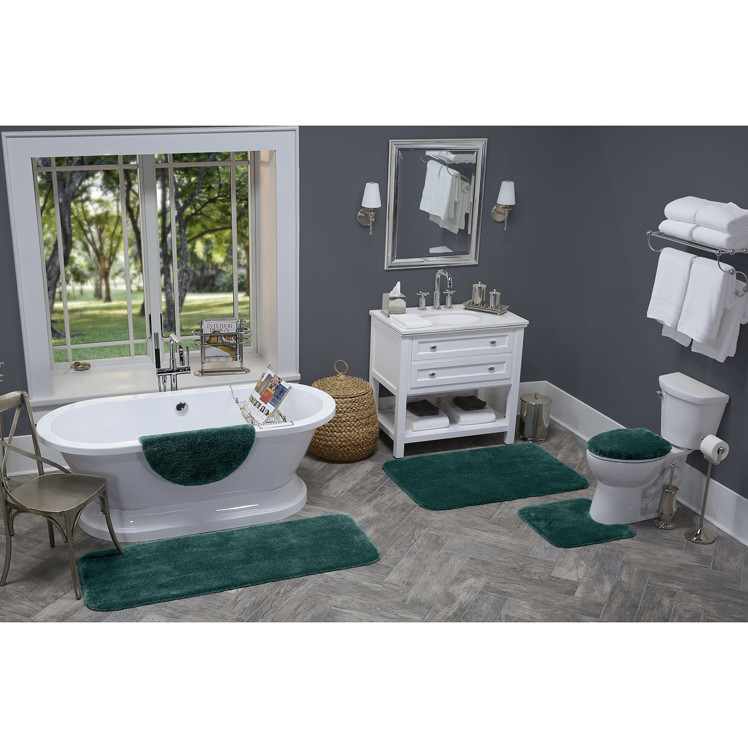 Maples Rugs Bathroom Rugs - Cloud Bath 20'' x 34'' Washable Non Slip Bath Mat [Made in USA] for Kitchen, Shower, and Bathroom, Teal Quartz by Maples Rugs
