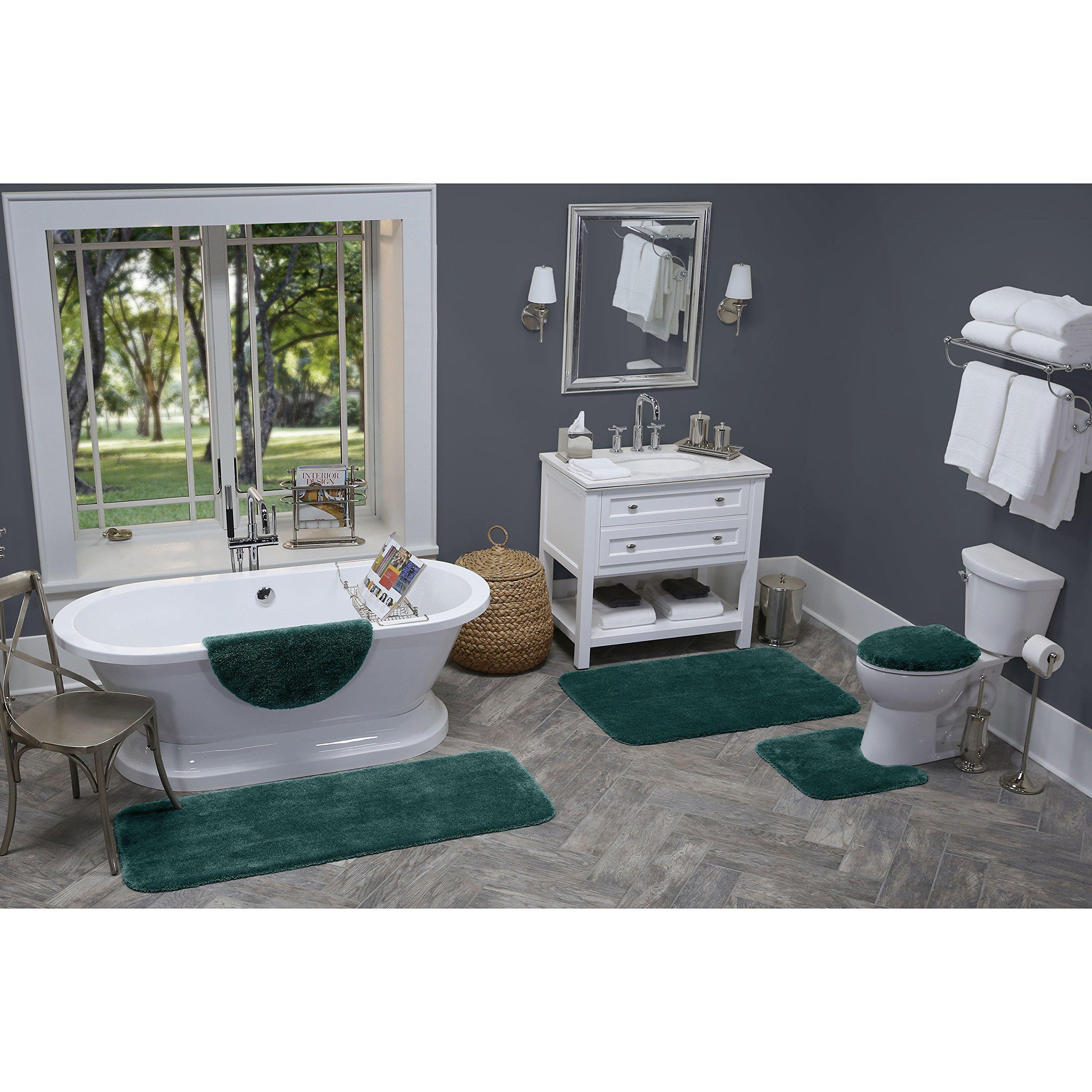 Maples Rugs Bathroom Rugs - Cloud Bath 20'' x 34'' Washable Non Slip Bath Mat [Made in USA] for Kitchen, Shower, and Bathroom, Teal Quartz