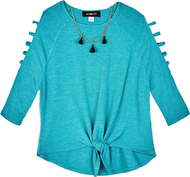 Amy Byer Girls Tie Front Lattice Sleeve Top