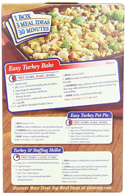 stove top stuffing recipe. amazon.com : stove top stuffing mix, turkey, 6 ounce box (pack of 12) packaged side dishes grocery \u0026 gourmet food recipe