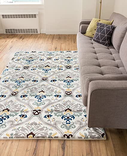 Captivating Ogee Waves Lattice Grey Gold Blue Ivory Floral Area Rug 5x7 ( 5u00273u0026quot;