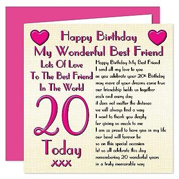 Best Friend 20th Happy Birthday Card