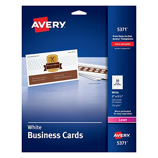 Amazon.com: Avery Laser 2 x 3 1/2 Inch White Business Cards 250 ...