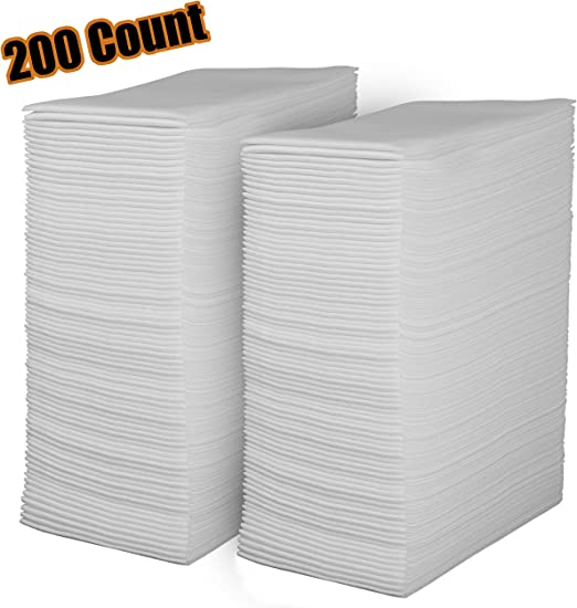 Amazon Com Linen Feel Disposable Guest Towels Cloth Like White Paper Hand Napkins 200 Pack Highly Absorbent Soft Fancy Guest Hand Towels For Bathroom Parties Dinner Cocktails Kitchen Weddings Events
