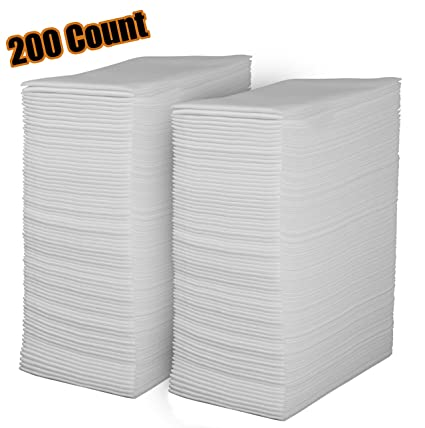 Linen Feel Disposable Guest Towels   Cloth Like White Paper Hand Napkins  200 Pack   Highly
