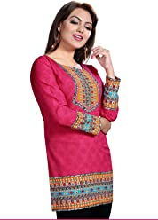 Unifiedclothes Women Fashion Printed Short Indian Kurti Tunic Kurta Top Shirt Dress 126A