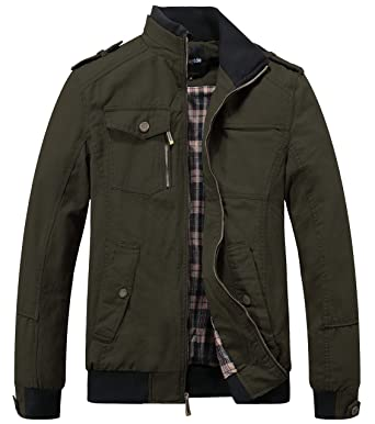 Wantdo Men's Cotton Stand Collar Windbreaker Jacket Small Army Green