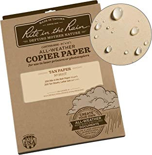 "product image for Rite In The Rain Weatherproof Copier Paper, 8.5"" x 11"", 20# Tan, 200 Sheet Pack (No. 9511T)"