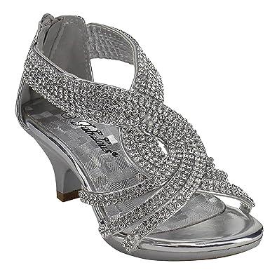 81a1325b72 J.J.F Shoes Fabulous Angel-37K Little Girls Bling Rhinestone Platform Dress Heels  Sandals