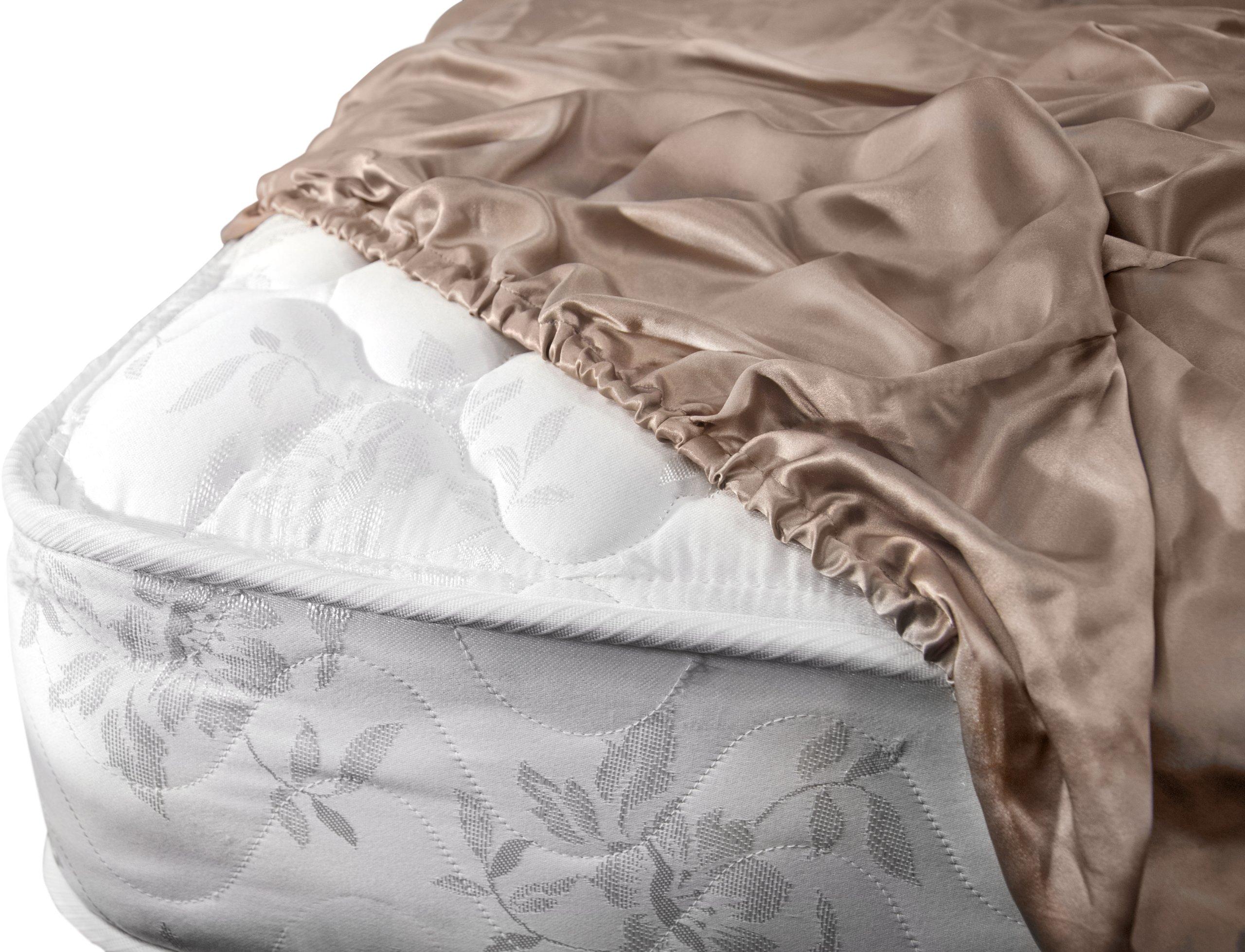 Aus Vio 100-Percent Silk Fitted Sheet, King, Pebble
