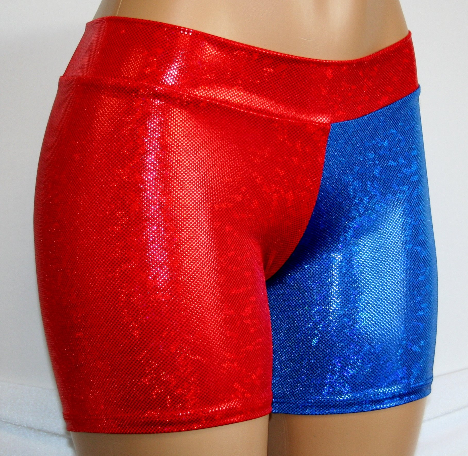 Dilly Duds Children's Red and Blue Holographic Spandex Shorts (X-Small, Red Blue) by Dilly Duds (Image #2)